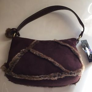 Minicci Brown Faux-Fur Handbag- NWT